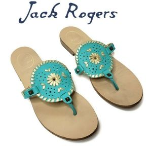 Jack Rogers georgica turquoise and gold flip flops